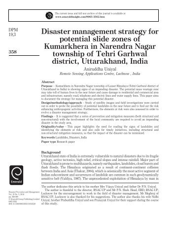 Disaster management strategy for potential slide zones of Kumarkhera in Narendra Nagar township of Tehri Garhwal district, Uttarakhand, India