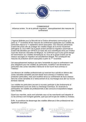 COMMUNIQUE Influenza aviaire : fin de la période migratoire ... - Favv