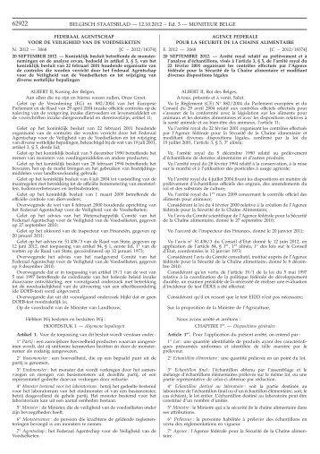 K.B. van 20/09/2012 - Favv