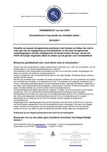 20/10/2011 Omwille van steeds terugkerende problemen - Favv
