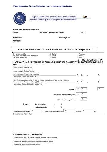 DPA 2099 RINDER – IDENTIFIZIERUNG UND ... - FAVV