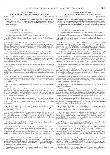 wet van 28/03/2003 - Favv