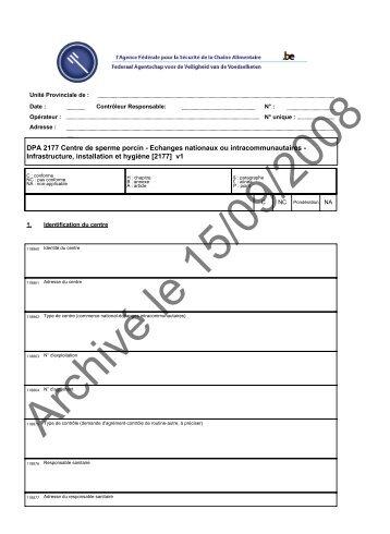 DPA 2177 Centre de sperme porcin - Echanges nationaux ou ... - Favv