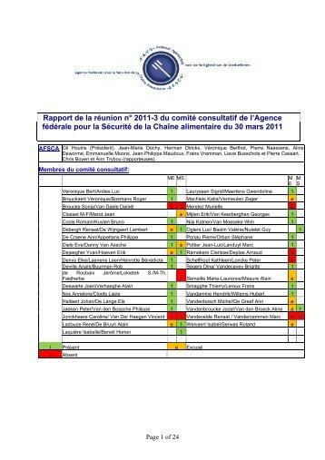 Rapport de la réunion n° 2011-3 du comité consultatif de l ... - Favv