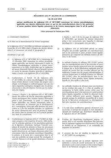 Règlement (UE) no 365/2010 de la Commission du 28 ... - EUR-Lex