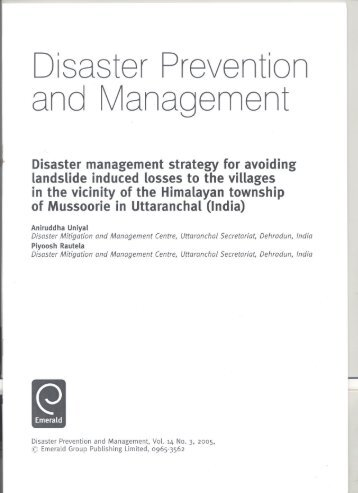 Disaster management strategy for avoiding landslide induced losses to the villages in the vicinity of the Himalayan township of Mussoorie in Uttaranchal (India)