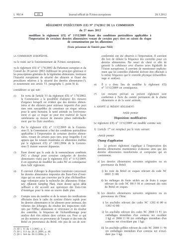 Règlement d'exécution (UE) no 274/2012 de la ... - EUR-Lex