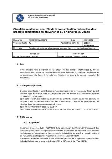 Circulaire relative au contrôle de la contamination radioactive ... - Favv