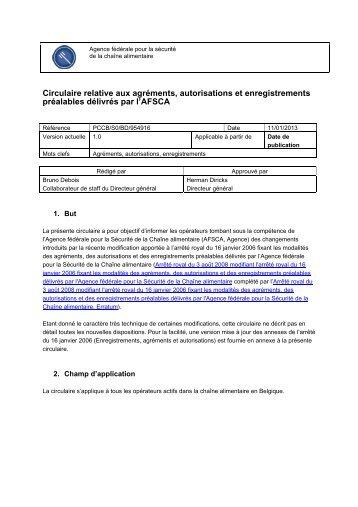 Circulaire relative aux agréments, autorisations et ... - Favv