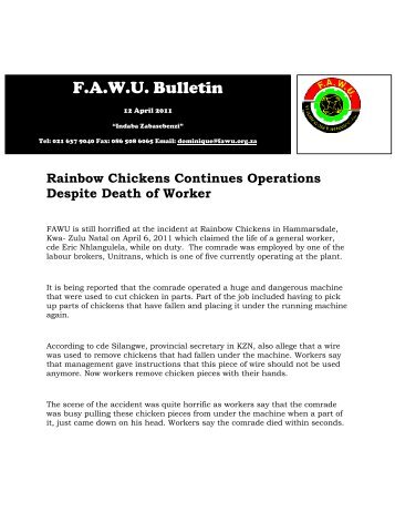FAWU Bulletin, 12 April 2011