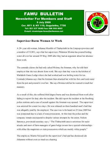 FAWU Bulletin, 9 July 2009