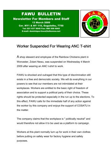 FAWU Bulletin, 13 March 2009 - Food and Allied Workers Union