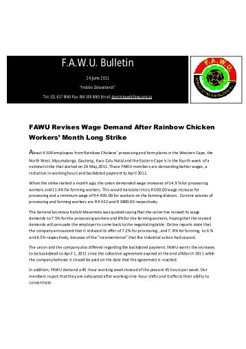 FAWU Bulletin, 24 June 2011 - Food and Allied Workers Union