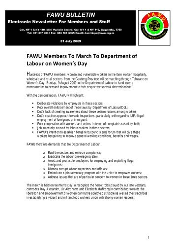 FAWU Bulletin, 31 July 2009 - Food and Allied Workers Union