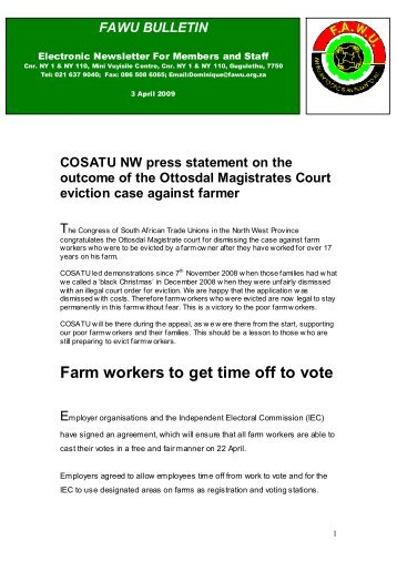 FAWU Bulletin, 3 April 2009 - Food and Allied Workers Union