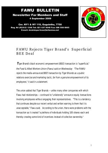 FAWU Bulletin, 4 September 2009 - Food and Allied Workers Union