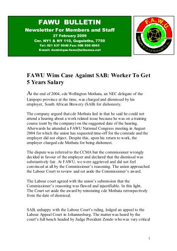 FAWU Bulletin, 27 February 2009 - Food and Allied Workers Union