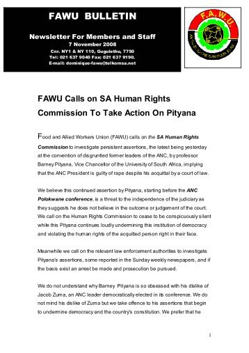 FAWU Bulletin, 7 November 2008 - Food and Allied Workers Union