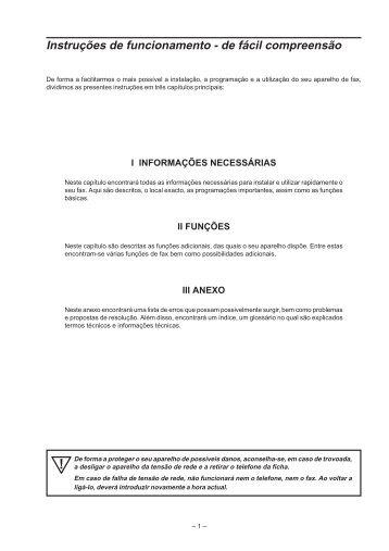 Instruções de funcionamento - de fácil ... - Fax-Anleitung.de