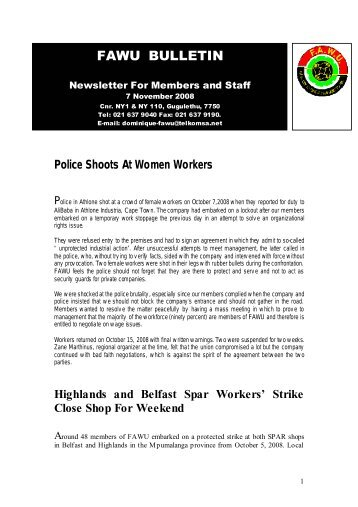 FAWU Bulletin, 24 November 2008 - Food and Allied Workers Union
