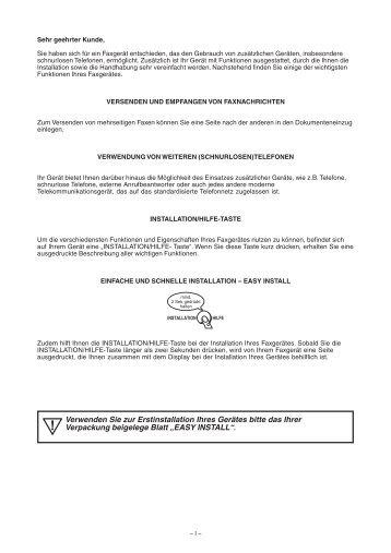 Verwenden Sie zur Erstinstallation Ihres Gerätes ... - Fax-Anleitung.de