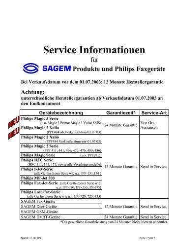 Service Informationen Philips-Fax und SAGEM ... - Fax-Anleitung.de