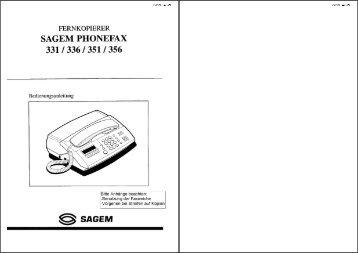 Anleitung Sagem Phonefax 331/336/351/356 - Fax-Anleitung.de