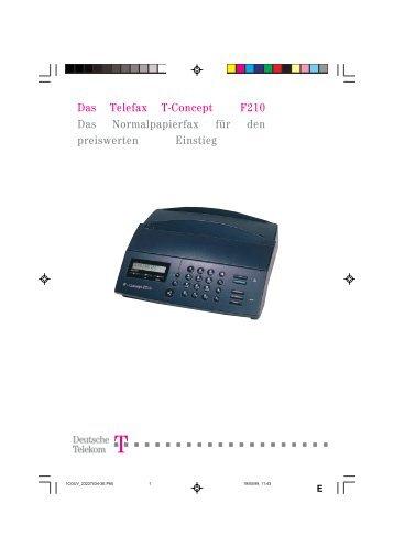Das Telefax T-Concept F210 Das ... - Fax-Anleitung.de