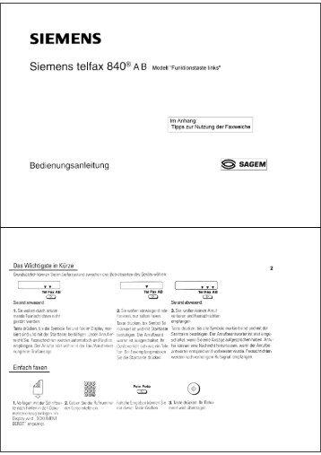BDA Siemens Telfax 840AB (Funktionstaste links) - Fax-Anleitung.de