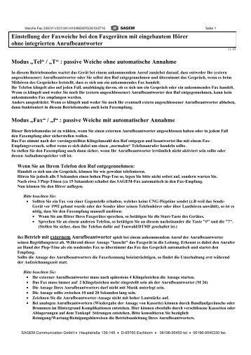 Faxweiche Phonefax (Modell mit Hörer und ohne ... - Fax-Anleitung.de