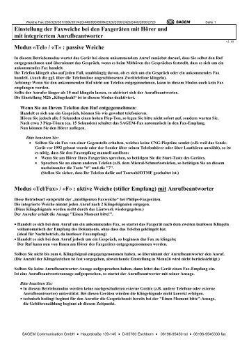 Einstellung der Faxweiche bei den Faxgeräten ... - Fax-Anleitung.de