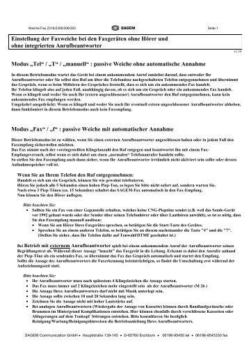 Faxweiche Phonefax (Modell ohne Hörer und ... - Fax-Anleitung.de