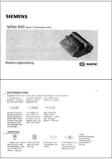 BDA Siemens Telfax 840 (Funktionstaste rechts) - Fax-Anleitung.de