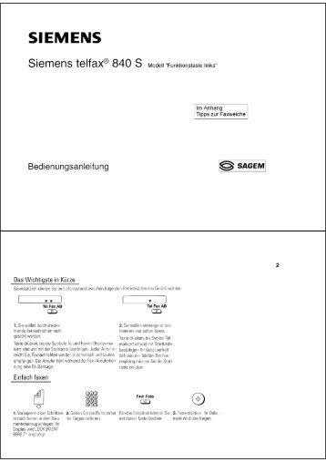 BDA Siemens Telfax 840S (Funktionstaste links) - Fax-Anleitung.de