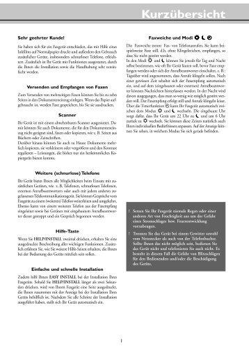 Kurzübersicht - Fax-Anleitung.de