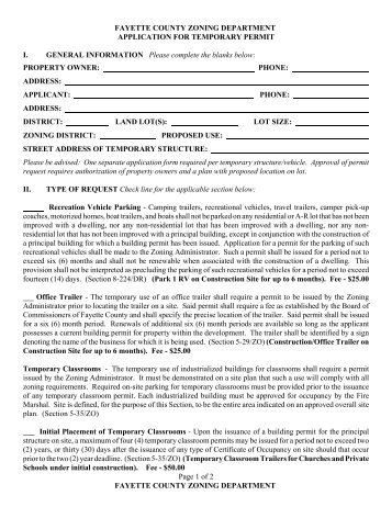Temporary Trailer Permit - Fayette County Government