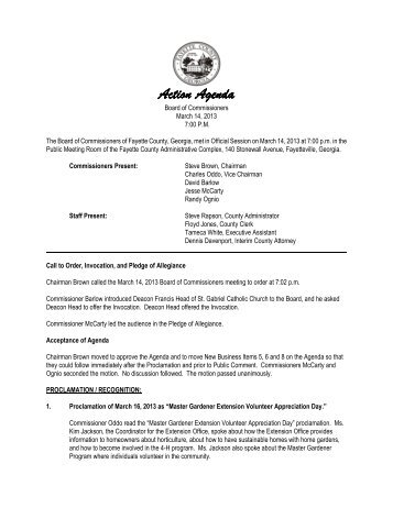 Agenda of Actions - Fayette County Government