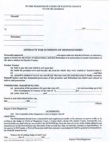 Affidavit for Summons of Dispossessory - Fayette County Government