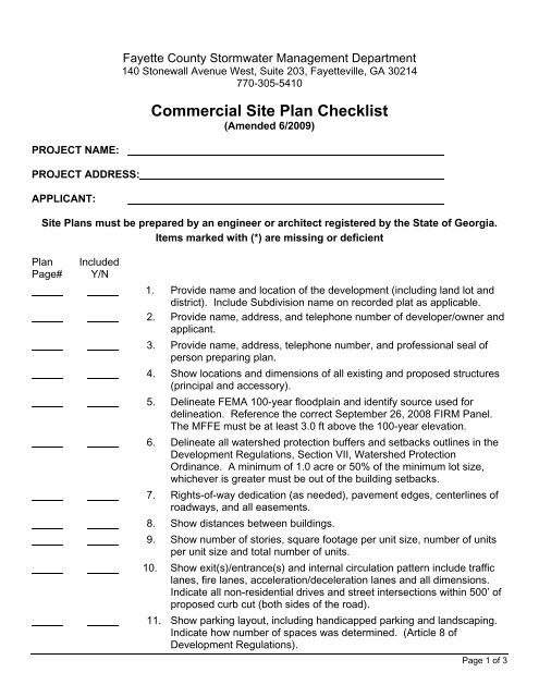 Commercial Site Plan - Fayette County Government