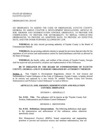 Art.IX, Soil Erosion And Sedimentation Control Ordinance,§ 8-241