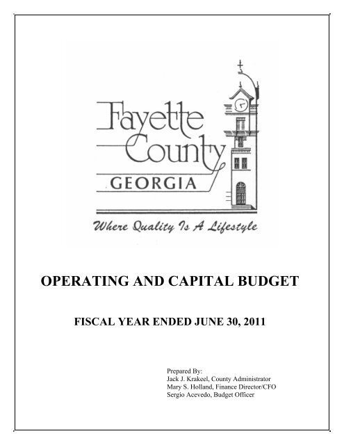 OPERATING AND CAPITAL BUDGET - Fayette County Government