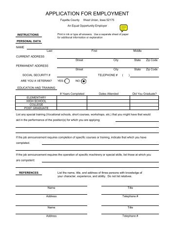APPLICATION FOR EMPLOYMENT - Fayette County