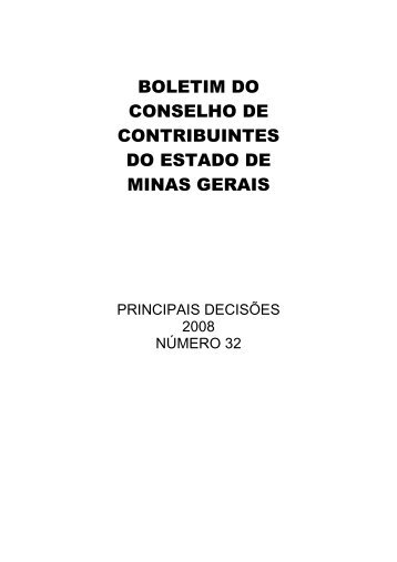 boletim do conselho de contribuintes do estado de minas gerais