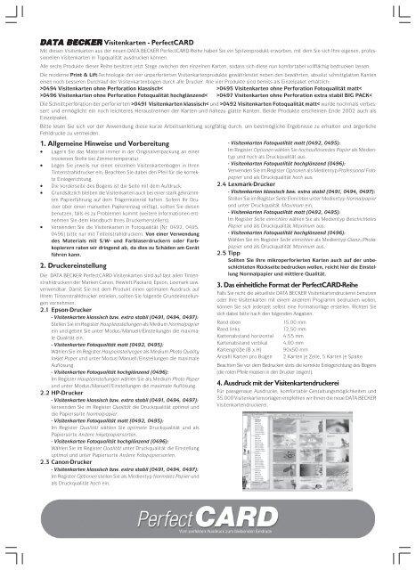 Data Becker Visitenkarten Perfectcard 1 Allgemeine