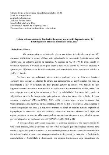 Gênero, Corpo e Diversidade Sexual (Sexualidades) ST.51 Marli de ...