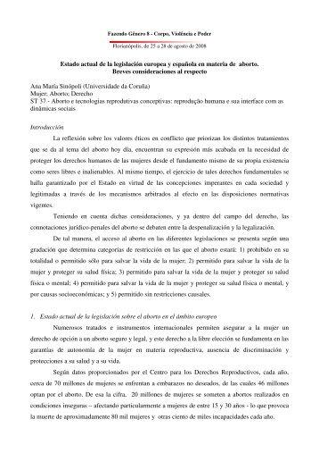Estado actual de la legislación europea y ... - Fazendo Gênero