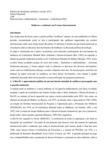 Sujeitos do feminismo: políticas e teorias. ST 6 ... - Fazendo Gênero