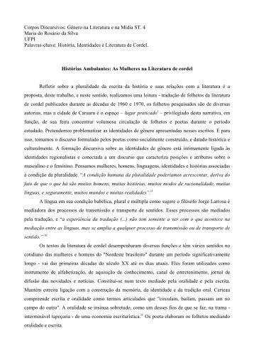 Gênero na Literatura e na Mídia ST. 4 Maria do Rosário da Silva ...