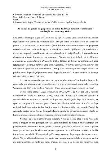 1 Corpos Discursivos: Gênero na Literatura e na Mídia ST. 04 ...
