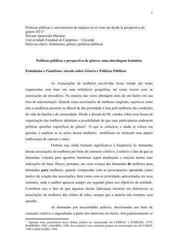 1 Políticas públicas y movimientos de mujeres en ... - Fazendo Gênero